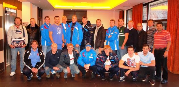Back from left: Sergey Evstigneev (Assistant coach), Viacheslav Skok (Advisor coach), Albert Zinnatulin, Dmitry Antipov, Dmitry Kholod, Alekse Rhyzov-Alenichev, Artem Odintcov, Aleksandr Yatcenko, Evgeny Kostrov, Vladislav Timakov, Viacheslav Sobchenko (Manager), Yury Grigoriev (Physician), Irek Zinnurov (Assistant coach) and Erkin Shagaev (Head coach). Front from left: Vladimir Galkin (Video technician), Vladimir Berezin (Masseur), Roman Shepelev, Kirill Korneev, Ivan Nagaev, Artem Ashaev and Konstantin Stepaniuk.